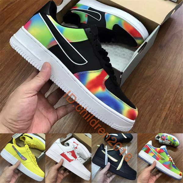 top popular 2019 Force One Low Casual Shoes Men Women Sneakers Black White Swappable Hook Tie Dye Chicago Kids Skateboard Shoes Size 5.5-11 2021