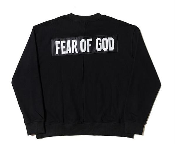 18SS Fear Of God FOG Schwarzes Übergroßes Sweatshirt Einfarbig Pullover Mit Kapuze Casual Street Skateboard Sport FOG Supply Outwear Hoodies