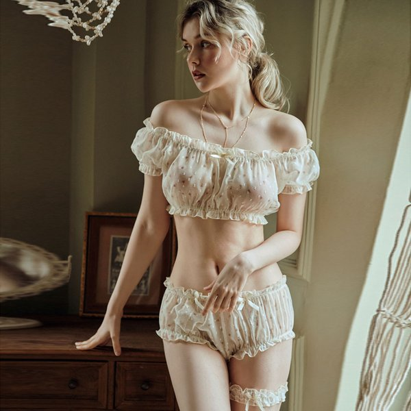 Kadınlar Sheer Yıldız Ultra-ince Gazlı Bez Ruffles Kapalı Omuz Kollu Üstleri Şort Bacak Halka Iç Çamaşırı Set Günaha Seksi Pijama