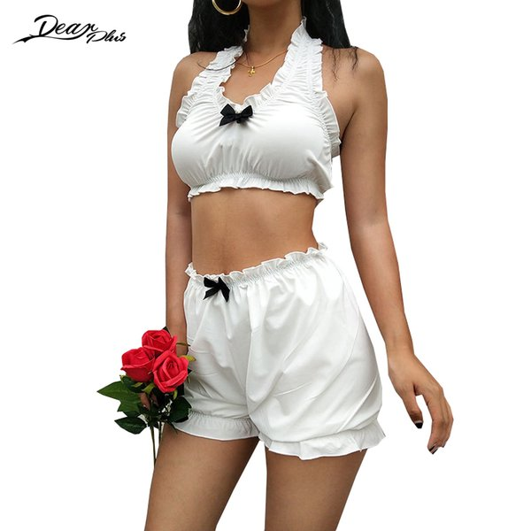 Women Sweet Ruched Tank Top and Shorts Suit Fashion Crop Top and High Waist Shorts 2 Piece Set Slim Casual Home
