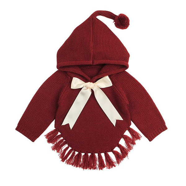2019 New Baby knitted Girl Sweaters Cape Hooded Children Bow Knit Cardigans Fringe Toddler Kids Coats Winter Warm Infant Clothes