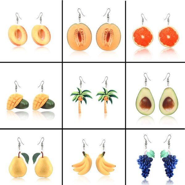 Acrylic Fruit Earrings Fruit Peaches Banana Grape Coconut Palm Tree Earrings Ear Rings Dangle Fashion Jewelry Will and Sandy Drop Ship