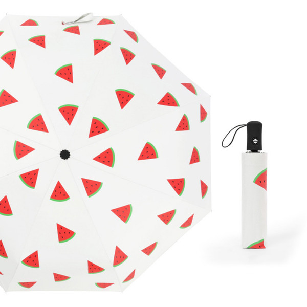Automatic Umbrella Funny Pongee Fabric Fruit Printed Three Folding Umbrella 8 Ribs Sunny Rainy Hot