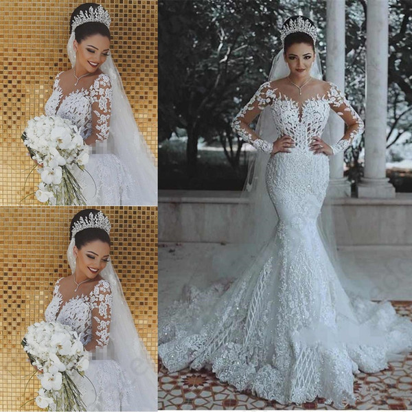best selling 2019 Newest Long Sleeves Mermaid Wedding Dresses Lace Appliques Sweep Train Custom Made Arabic Middle East Plus Size Bridal Gowns