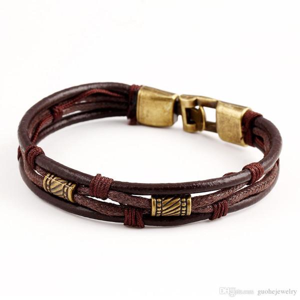 Retro estilo europeu e americano pulseiras pulseiras de couro personalizado multi layer pulseiras para unisex frete grátis
