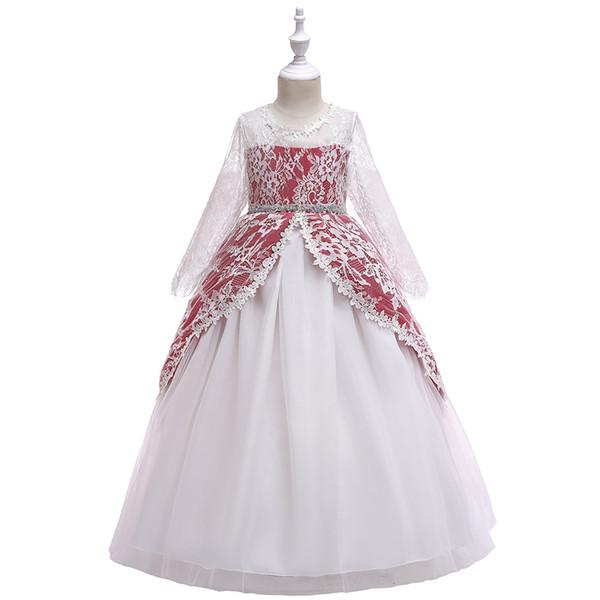 New Girls'Dresses Ribbed girl dress with lace sleeves Princess Skirt Flower Skirt Performing Host Peng Peng Skirt