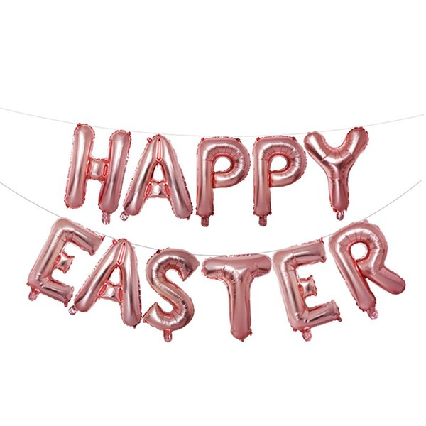 16 Inch Durable Festival Kids Letter Party Decoration Celebration Inflatable Balloon Foil Happy Easter Lovely Wedding Air Toys