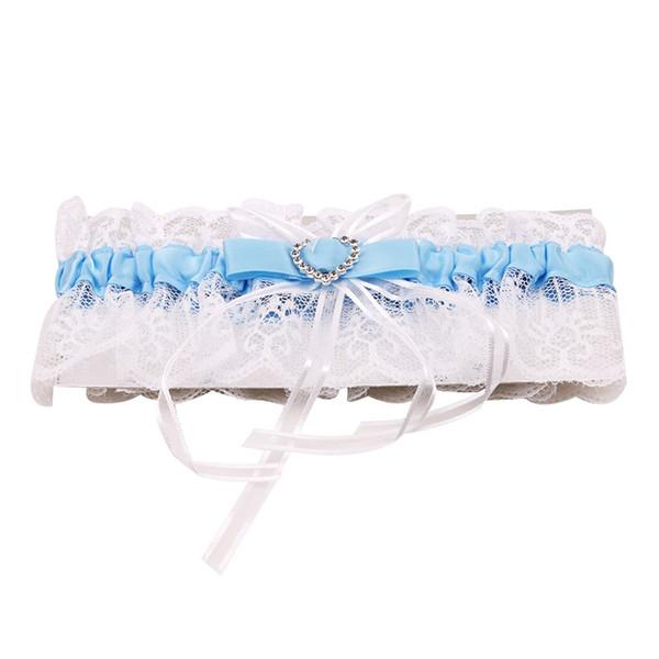 2018 Elegant Women Lace Mesh Bowknot Belt Sexy Suspender Rhinestone Lace Garter For Bride Party Wedding Leg Rings #419739