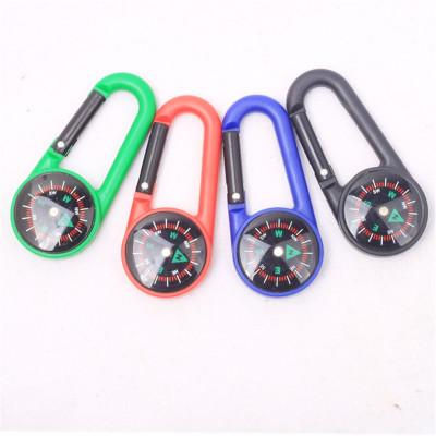 Colorful Mini Plastic compass Carabiner Portable Multi Function Liquid Compass For Outdoor Camping Hiking Mountaineering Buckle