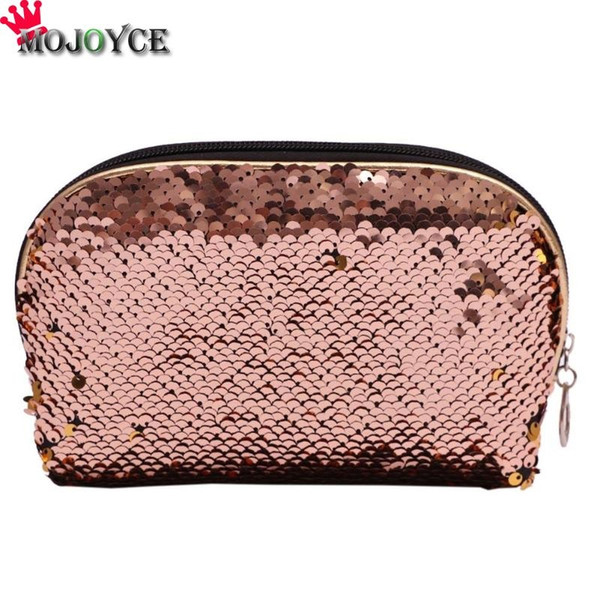 Fashion Women Makeup Bag Sequins PU Leather Shiny Party Banquet Glitter Small Clutches Cosmetic Handbag Evening Bag Pencil Bags #88719