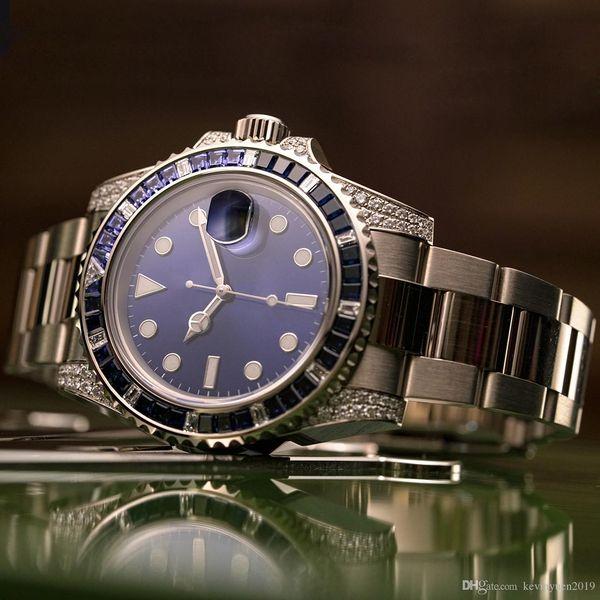 Мужчины Женщины Алмазный Часы Lady Девушка Дизайнер партии Rhinestone Часы Мужчины 2813 Механические нержавеющей стали Автоматическая Self-ветер синий наручные часы