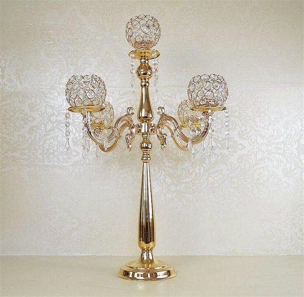 Free Shipping Gold/Silver Plated Crystal 5-arms Metal Candelabras Candle Holder Wedding Decoration Free Ship