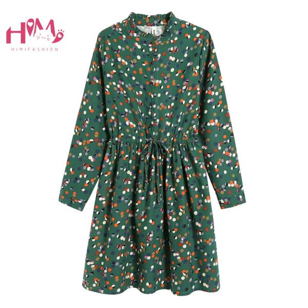 Япония Мори Девушка Элегантное Зеленое Платье Женщины Урожай Цветочные Повседневная Vestidos Корейский Рюшами Воротник Плюс Размер Платье С Длинным Рукавом