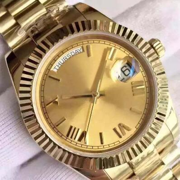 2017 new 18 ct gold DAYDATE 40mm self-winding mechanical movement Silver dial bezel Sapphire Original clasp Mens watch free shipping
