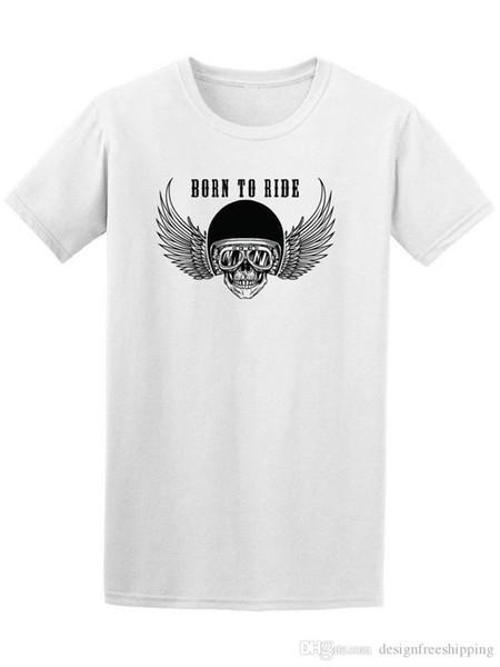 Marke 2018 neue T-Shirt Baumwolle kurze Baumwolle Rundhals Herren Biker Schädel geboren Shirts
