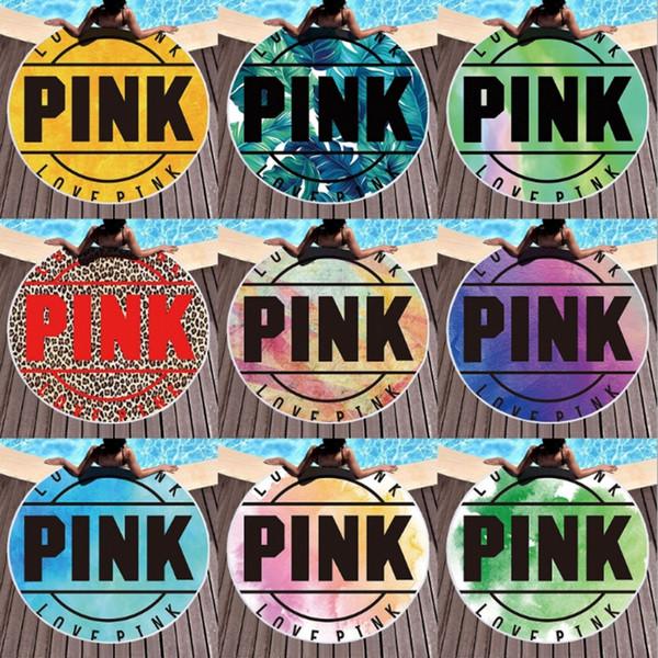 Serviette De Plage Rose Polyester Rond Plage Couvertures Gland Femmes Bikini Cover Up Châle Pique-Nique Tapis De Yoga Serviette De Plage 9 Modèles YW3730