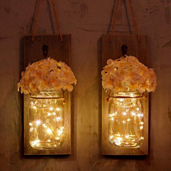 LED String Light Wall Home Decoration Mason Jar Lamp Fairy Garland String Lights Rustic Wall Sconces Fake Flower Decor
