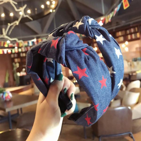 Haimeikang cute stars Denim Hair Hoop Headband Hairband for Women Girls Cross Knot Hair Band Accessories 2018 New