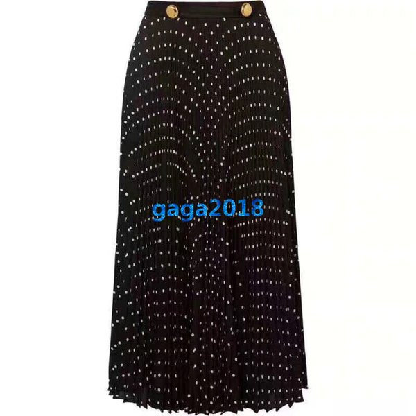 Women Girls Pleated Dress With Gold Button Polka Dot Skirts A-line Trumpet Midi Skirt High-End Custom New Fashion Luxury Runway Dresses