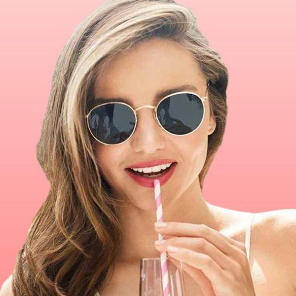 Зеркало Круглые солнцезащитные очки Женщины Мужчины Покрытие Светоотражающие UV400 Солнцезащитные очки Женщины Мужчины Vintage очки Стекло