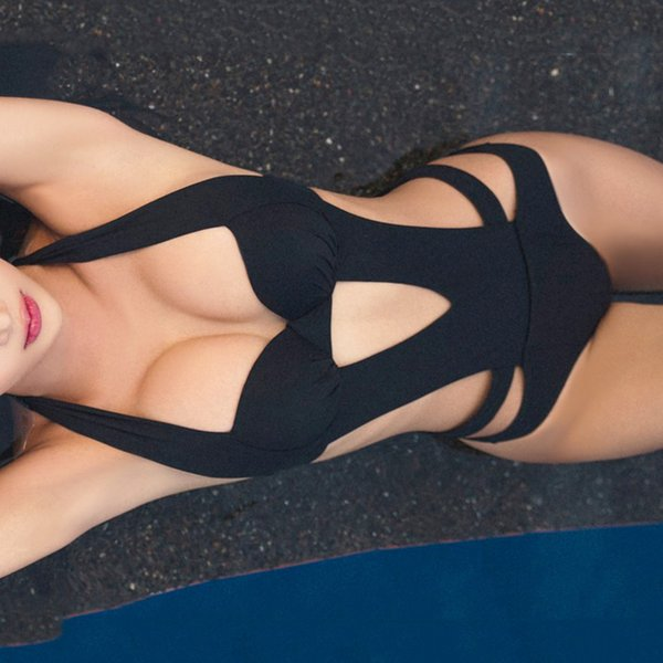 2019 Sexy Negro Halter Cut Out vendaje Trikini traje de baño de natación Monokini Push Up traje de baño brasileño Mujeres traje de baño de una pieza