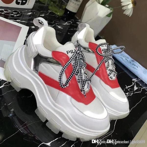 Nouvelles femmes baskets en cuir et nylon bloc chaussures de marque de luxe 1E586L_3L2H_F011H_F_075 chaussures de sport de femmes de qualité supérieure Taille 35-40