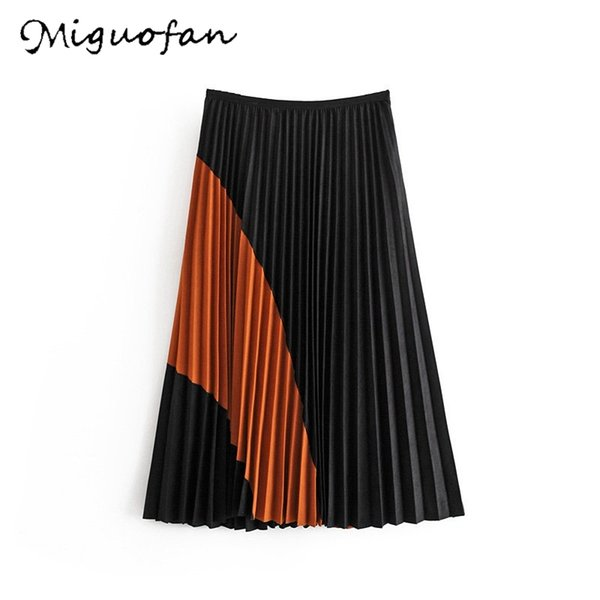 miguofan faux suede pleated skirs women skirts vintage color matching autumn ladies zipper elegant skirt midi skirts female new