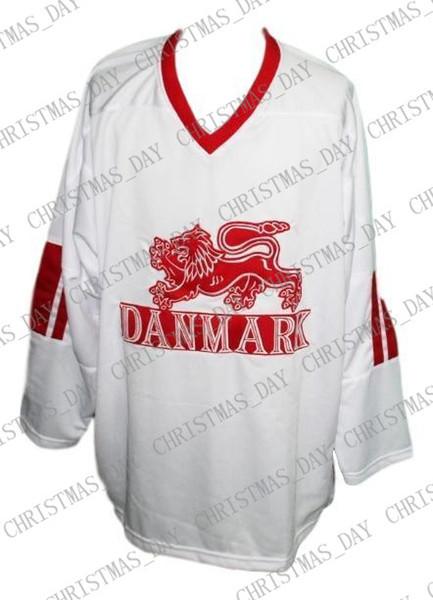Custom Name # Denmark Danmark Retro Hockey Jersey New White Any Size