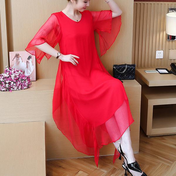 Plus size 4xl novo 2019 vestido de verão chiffon mulheres dress vermelho preto chiffon casual o pescoço coreano chiffon pequeno fresco vestido 301j3