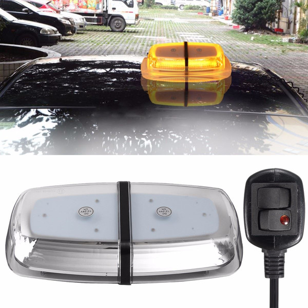 Freeshipping 72LEDs Yellow 72W Car Roof Warning Light Dome Flashing Strobe Emergency Vehicle For Police Lights