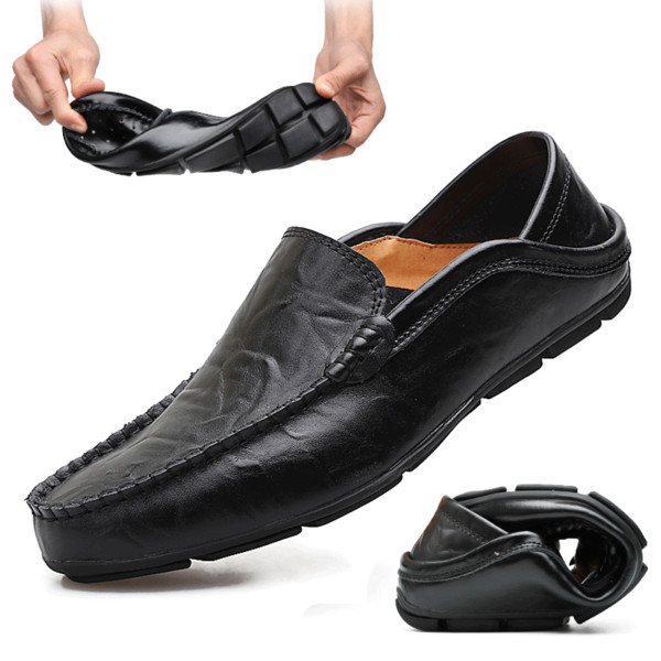 Italian Men Shoes Casual Luxury Genuine Leather Mens Loafers Moccasins Soft Breathable Slip on Boat Shoes Plus Size 38-46