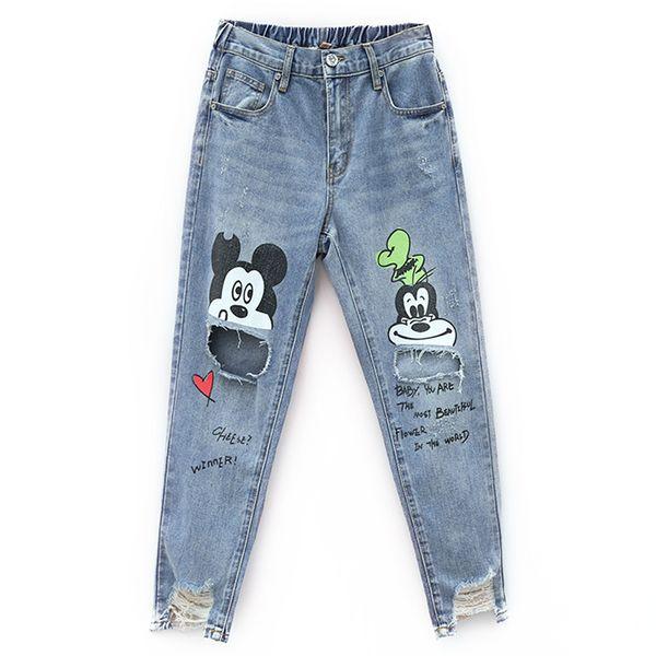 New Cotton Jeans Women 2019 Vintage Irregular Jeans Loose Elastic Waist Harajuku Cartoon Printed Hole Jeans Female Pants #8081 Y19042901