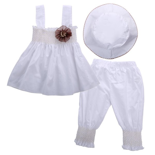 Hot 3PCS Baby Girl Clothes Set Newborn Toddler Kids Floral White Tank Tops Dress Pants Hat Wedding Party Princess Outfits Summer