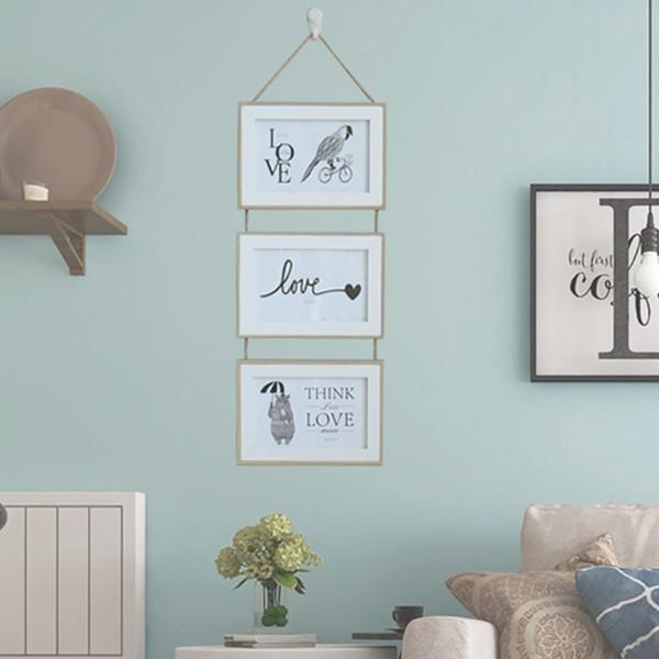 Triple Photo Frame Picture Durable appeso a catena della decorazione della parete Mounted Nordic stile unico di legno solido ornamento casa