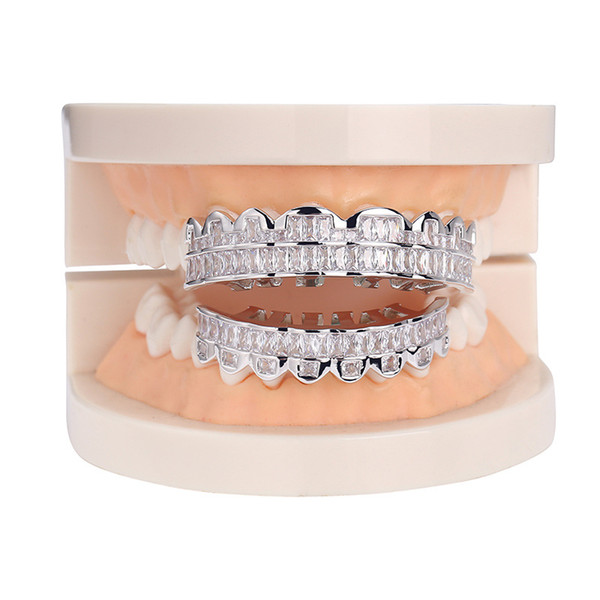New Fashion White Gold Plated Bling CZ Cubic Zirconia Teeth Grills Hip Hop Vampire Fang Grillz Iced Out Full Diamond Tooth Cap Mens & Womens