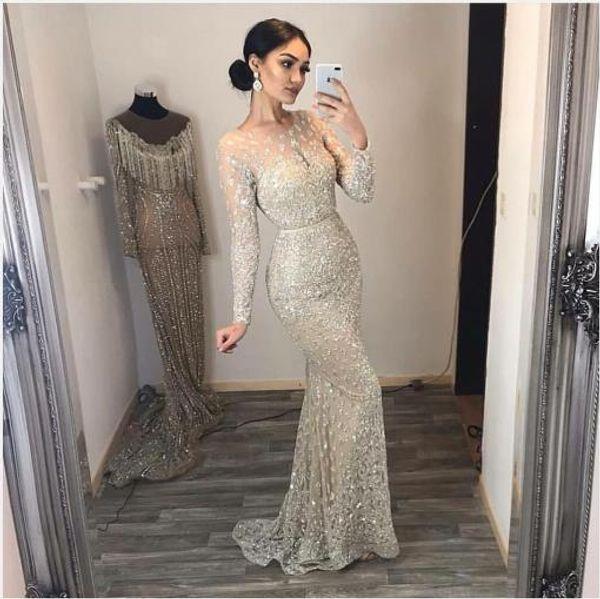 Evening dress Yousef aljasmi Labourjoisie Zuhair murad1 Mermaid Jewel Long Sleeve Illusion Sliver Tulle Crystal Sequin Long Dress James_paul