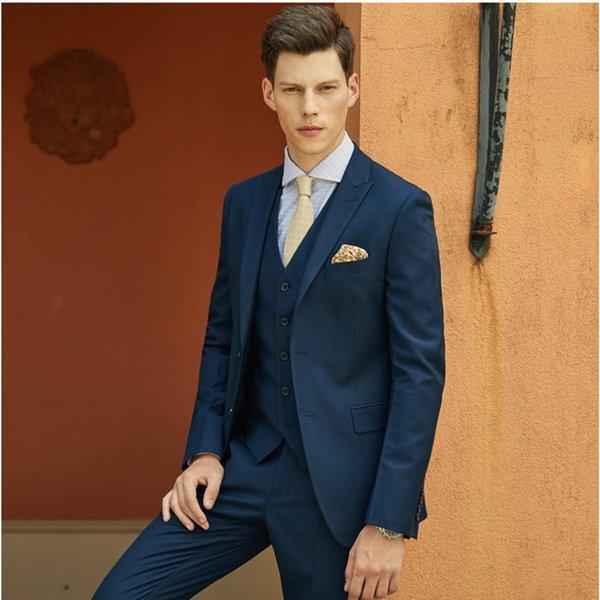 Yeni Varış Iki Düğmeler Groomsmen Tepe Yaka Damat Smokin Erkek Takım Elbise Düğün / Balo İyi Adam Blazer (Ceket + Pantolon + Yelek + Kravat) A535