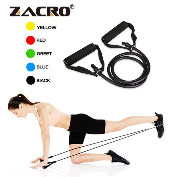 Zacro 130cm Yoga Pull Rope 51 Inch Elastic Resistance Bands Fitness Workout Exercise Tubes Practical Training Rubber Expander