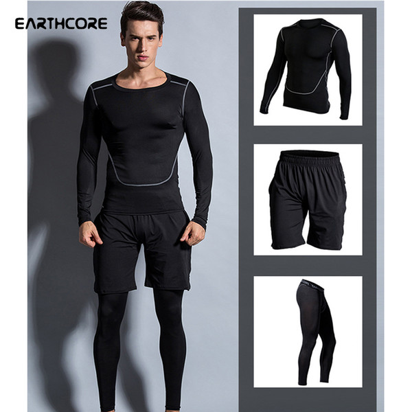 Men Elastic Compression Sportswear Patchwork Sport Tops Shorts Tight Trousers Male Basketball Run Training Jogging Sports Wear