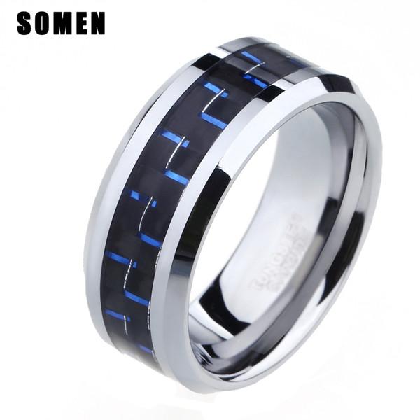 nillos moda 8 millimetri Nero Blu in fibra di carbonio tungsteno anello lucido bordi smussati degli uomini di modo degli anelli maschio Anello dei monili d'animo ani Wedding Band ...