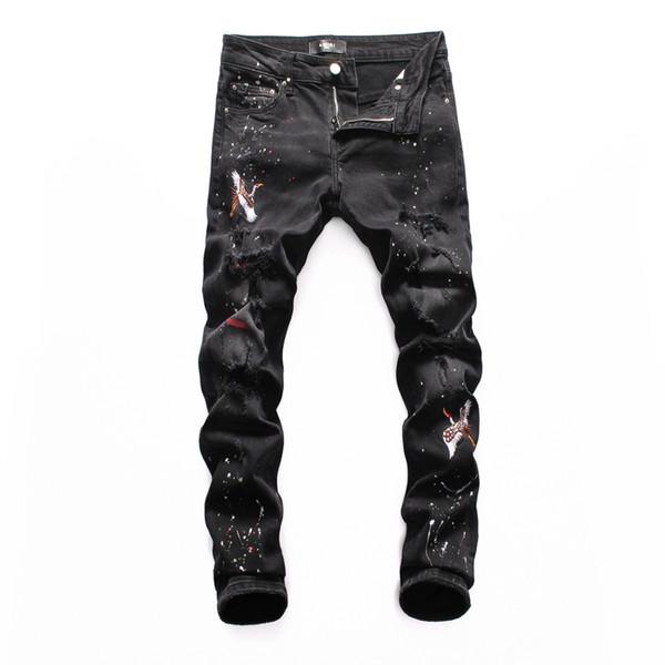 19 Seasons New Jeans Hole Motocicleta Estilo Hip-Hop Jeans ajustados Pantalones de ocio Marca Cremallera Diseñador Venta caliente Ropa de hombre Diseñador Jeans 006
