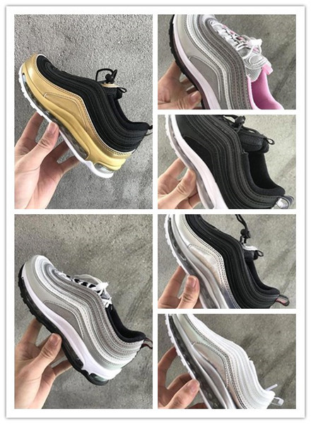 top popular 2018 kids shoes Air Cushion 97 OG Metallic Gold Silver Bullet Triple White Black 97s Trainers Undefeated plus tn Maxes undftd Sneakers 2020