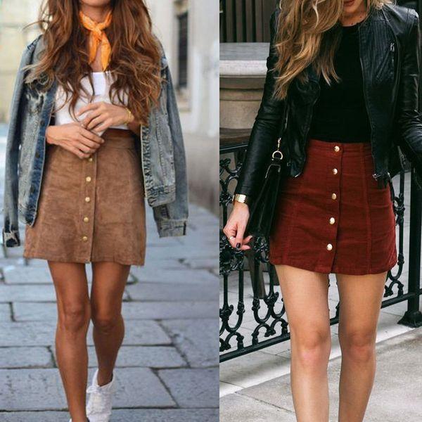 Модные женские высокой талией замшевые юбки женские искусственная кожа Skater юбка плюс размер дамы европа стильные мини-юбки с пуговицей