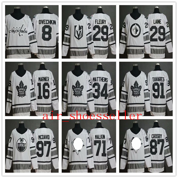 newest 6dbb6 36610 2019 2019 NHL Men All Star Game Hockey Jersey Crosby Malkin Laine Marner  Fleury Ovechkin White Hockey Jersey From Air_shoesseller, $22.88 |  DHgate.Com