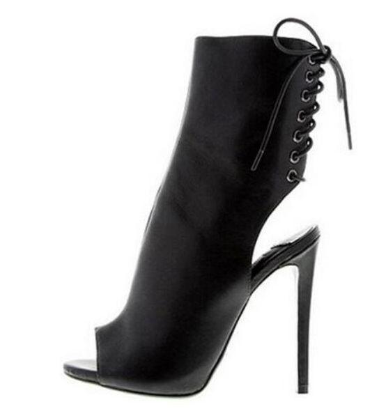 Top Qualität Beige Schwarz Offene Ferse Ankle Bootie Peep Toe Ausschnitt Gladiator Sandalen Stiefel Für Frauen High Heel Kleid schuhe frau