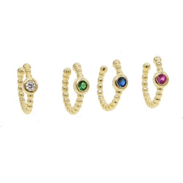 Hot Sale 4 Colors Clip On Earrings For Women Crystal Ear Cuff Jewelry Fake Piercing gold color Ear Clips red\blue\green CZ Gift