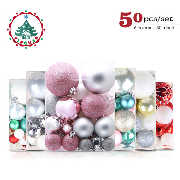 inhoo Plastic Christmas Balls For Home Christmas Tree Decorations White Baubles Xmas Ornaments Pendant Balls 2019 New Year Gifts