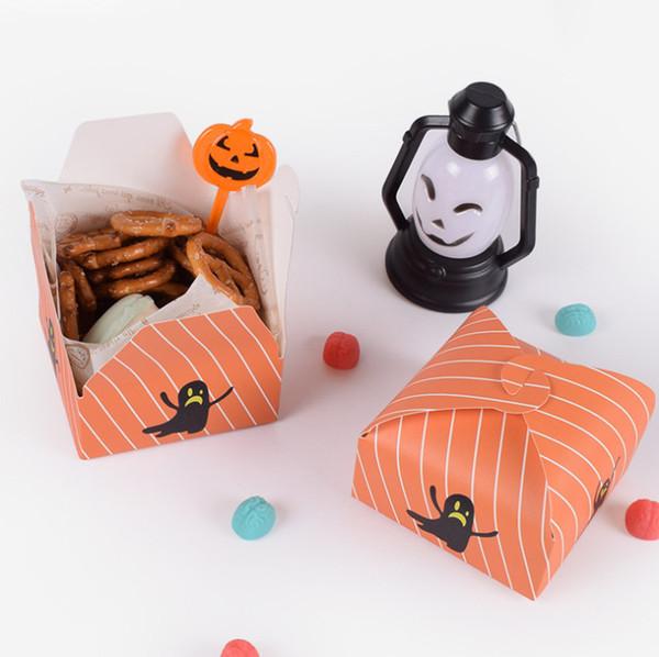 2019 neue heiße Verkaufs-Geschenk-Kasten-Papier-Karikatur-Halloween-Quadrat-faltbare Süßigkeit-Verpackentaschen-Gastgeschenke