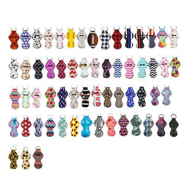 top popular Neoprene Keychain Sports Printed Chapstick Holder Leopard Keychain Wrap Lipstick Holders Lip Cover Party Favor Gift 61 Designs YW1710 2019