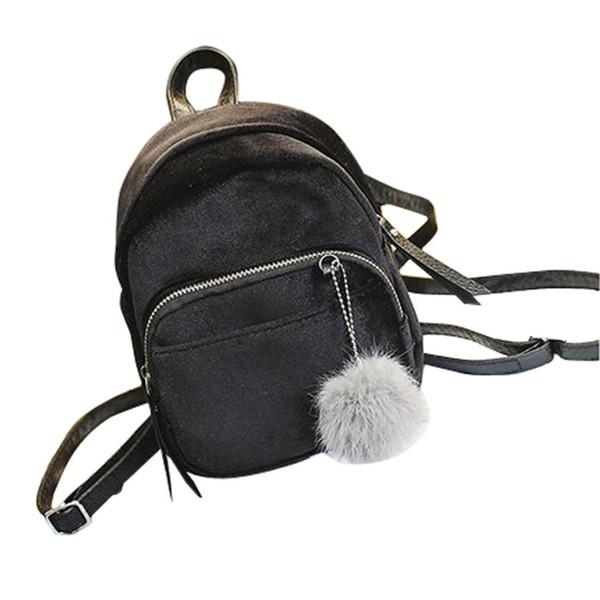 Women Backpacks Solid Color Gold Velvet Travel Vintage Bagpack Mini Fur Ball Pendant Girls School Bags Mochila Escolar @Y214